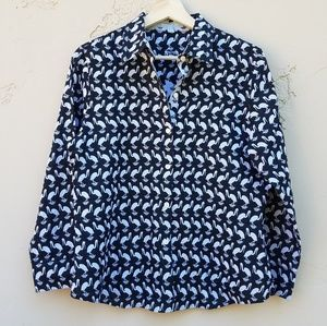 Foxcroft Black Crane Bird Button Down Shirt Size 8